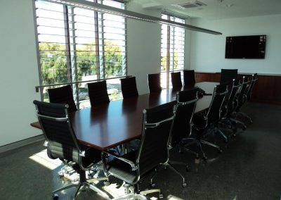 Breezway Louvres in the boardroom to provide views to the outside world
